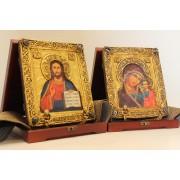 Венчальные иконы на свадьбу под старину, пресвятой богородицы Казанская и Господа
