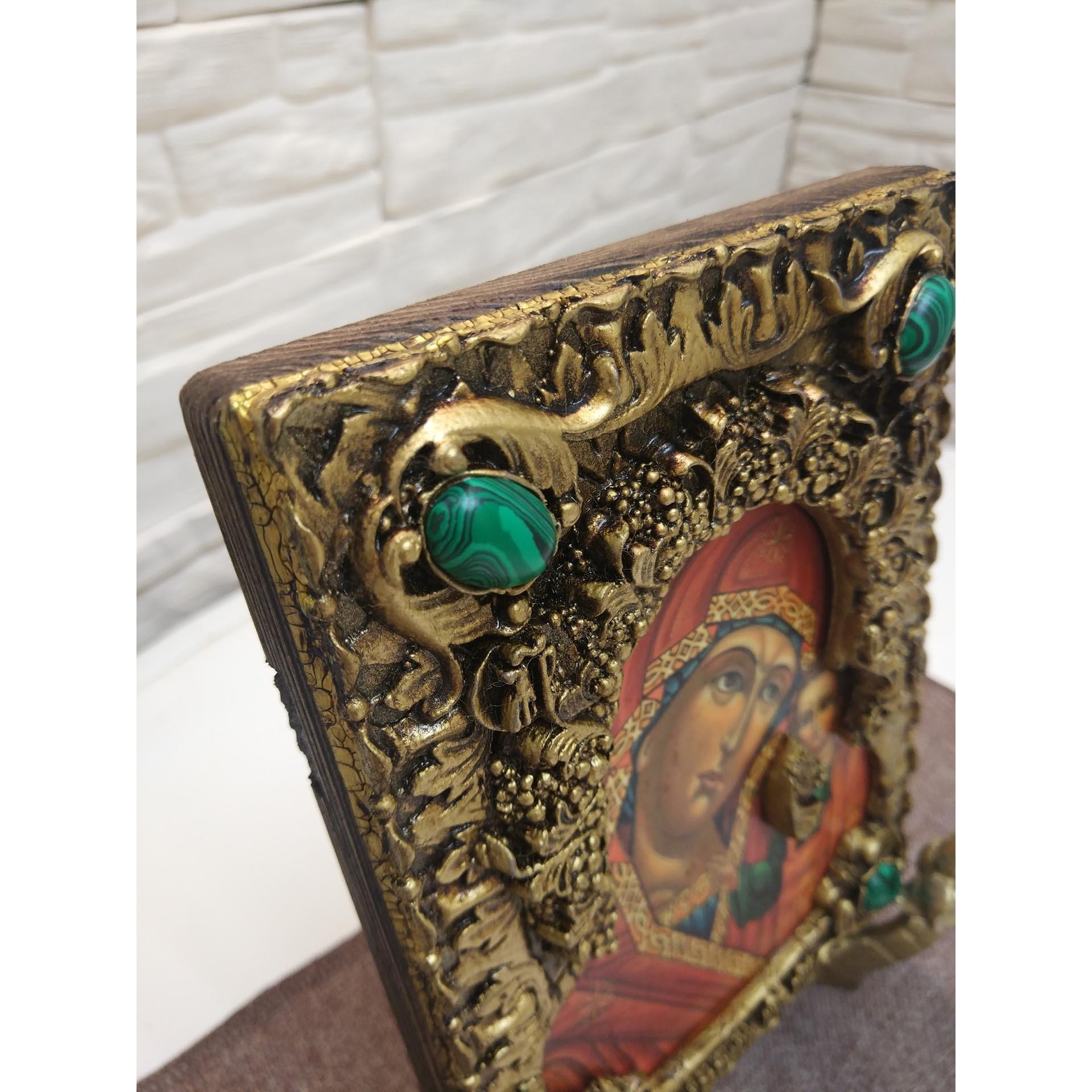Венчальные иконы под старину пресвятой богородицы Казанская и Господа с иглицами и камнями