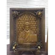 Венчальные резные иконы богородицы Казанская и Господа вседержителя с камнями