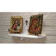 """Полка для иконы """"Венчальная пара"""", резная с крестом"""