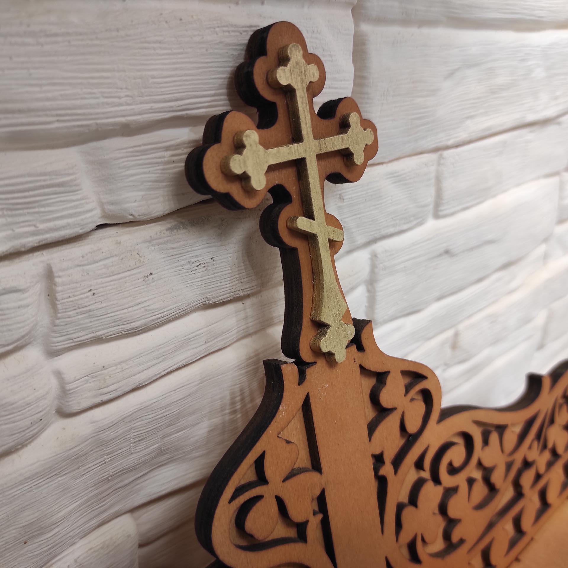 Полка иконостас для маленьких икон с крестом, прямая