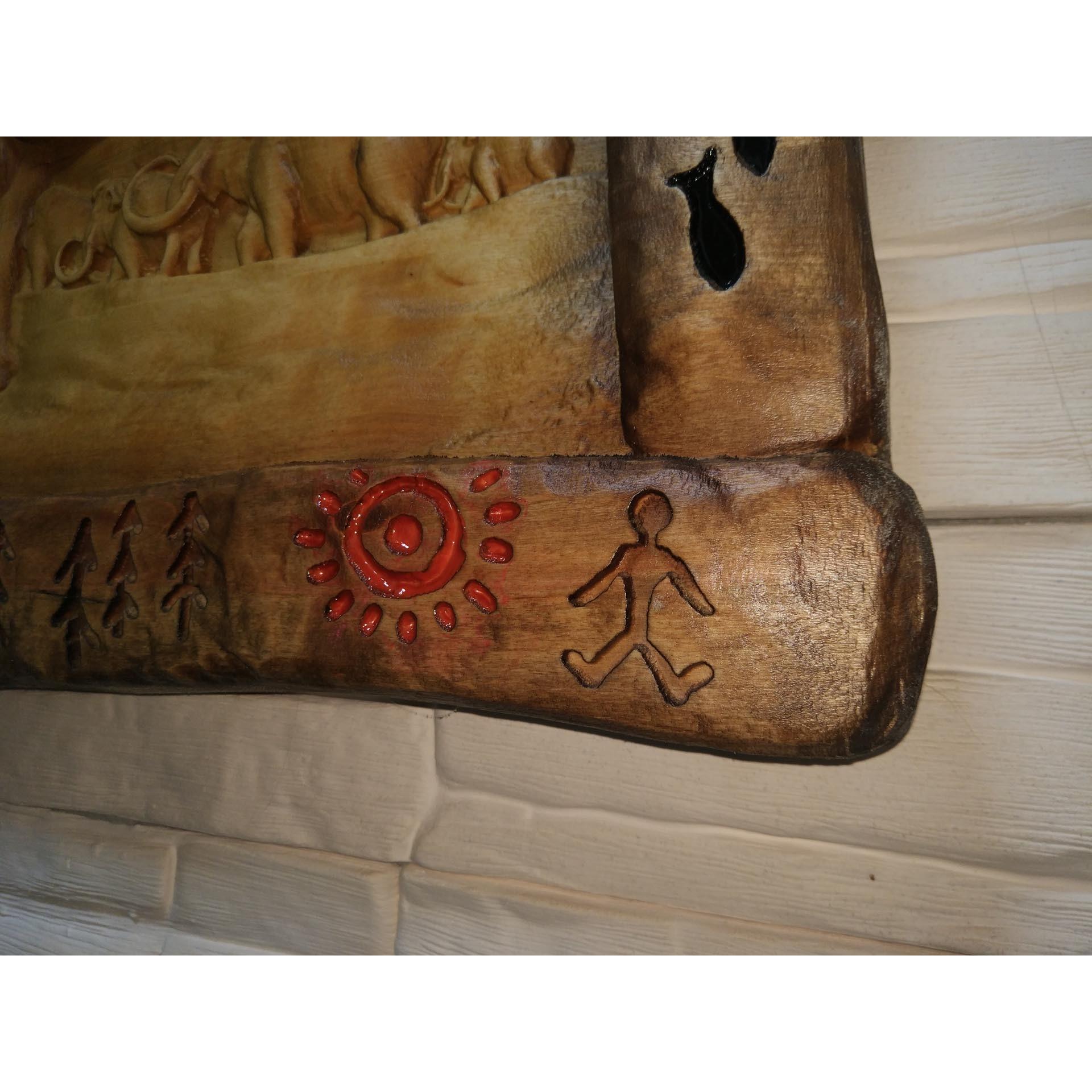 Резное панно Мамонты, из массива с перегородчатой эмалью.