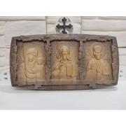 """Резная икона """"Триптих спаси и сохрани"""" из массива Бука"""