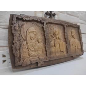 Резная икона Триптих спаси и сохрани из массива Бука