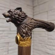 Трость резная с головой Волка из массива